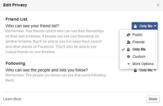 menyembunyikan daftar teman facebook